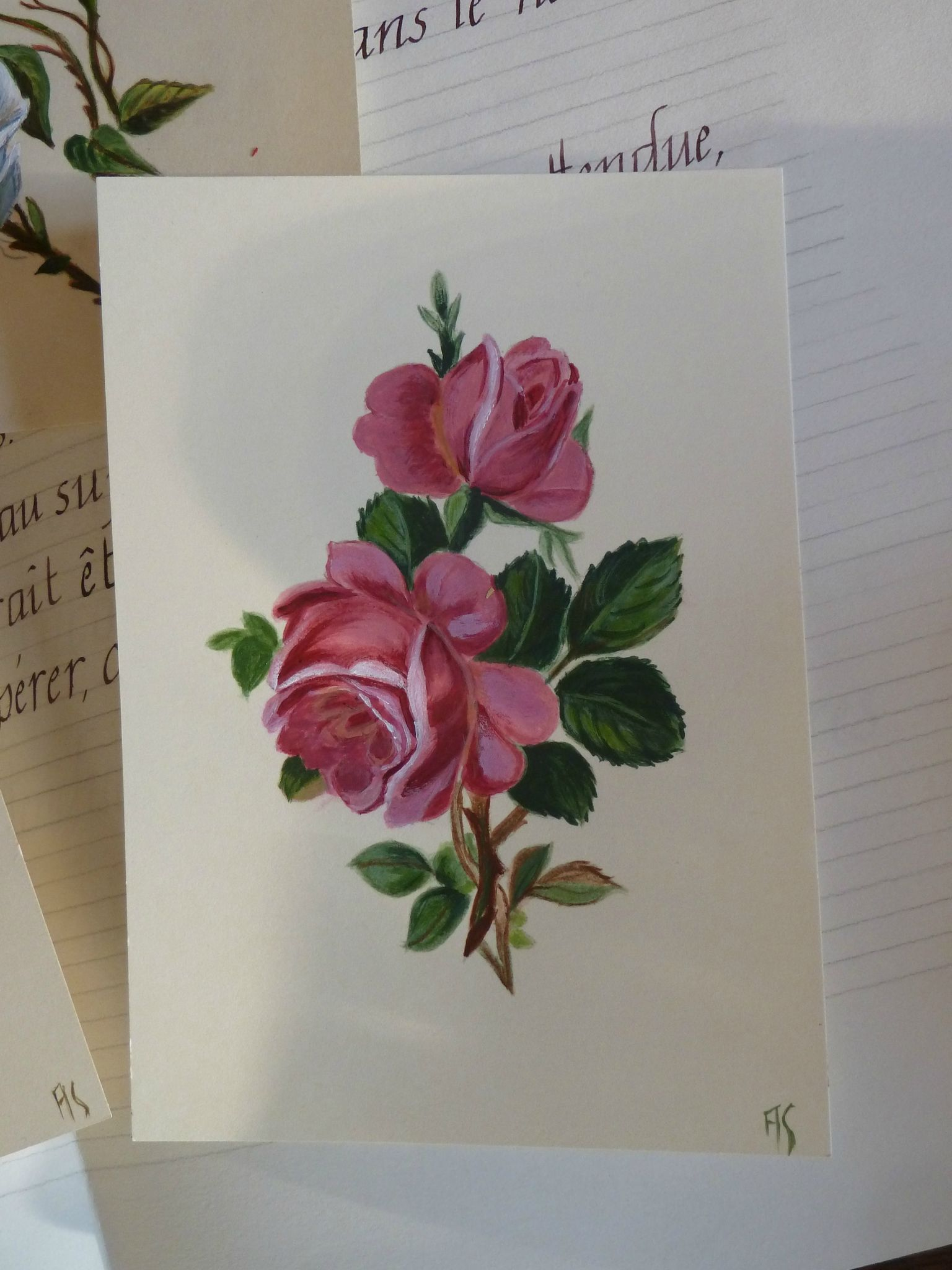 cartes peintes - roses rouges