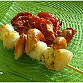 Brochettes de st jacques tomates confites