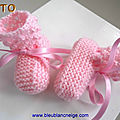 tuto layette bb, chaussons roses, explications pdf