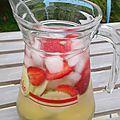 Eau aromatisée fraises-citron vert-concombre