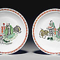 Two <b>famille</b> <b>verte</b> and iron-red-decorated 'Birthday' dishes, Kangxi six-character marks and of the period (1662-1722)