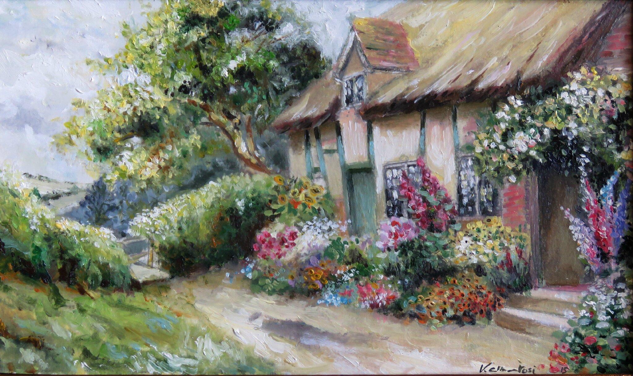 oil color painting valerie albertosi peinture à l'huile ferme anglaise 19ème siecle