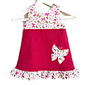 Robe <b>Fille</b> Printemps 2-3 ans Papillons Velours Fuchsia