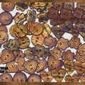 Lots boutons tons marrons or