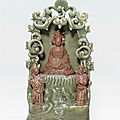 A Longquan celadon shrine of the South Sea Guanyin, Ming Dynasty, <b>15th</b> <b>Century</b>