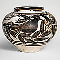 A rare finely painted and incised 'Cizhou' 'Birds' jar, <b>Jin</b>-<b>Yuan</b> <b>dynasty</b> (<b>1115</b>-<b>1368</b>)