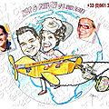 Cadeau de mariage, les mariés dans un avion en carton - caricatures