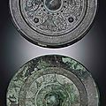 Two <b>bronze</b> <b>circular</b> <b>mirrors</b>, Eastern Han dynasty (25-220)