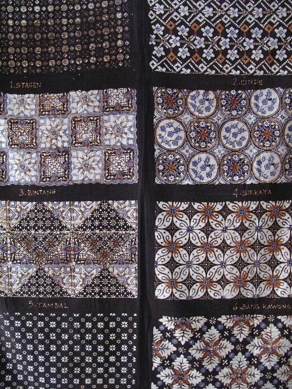 Exemples de motifs batik (Yogyakarta, Java)