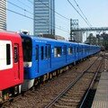 Keikyû 600 'Blue Sky train' leaving Shinagawa eki