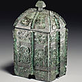 A rare bronze ritual wine vessel and cover, <b>fangyi</b>, Late Western-Early Eastern Zhou dynasty, 8th-6th century BC
