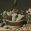 <b>Isaac</b> <b>Soreau</b> (active Hanau 1620-1638) A still life of grapes in a basket, mulberries in a wanli kraak porcelain bowl and flowers