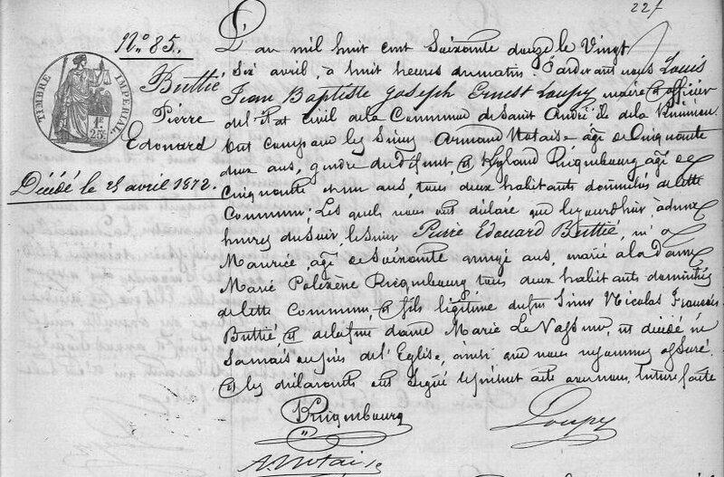 Buttié Pierre Edouard_Décès 26.4.1872_St André