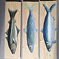 Les poissons, peinture à l'huile