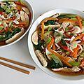 Soupe de nouilles chinoises au poulet et aux légumes