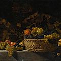 Bartolomeo Cavarozzi, formerly known as the Master of the Acquavella still life, Basket of <b>fruit</b> on a stone ledge