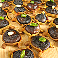 Mini tartelettes au shiitake sauce barbecue au gochujang