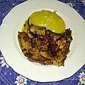 Côte de porc et purée de pommes de terre au curry <b>madras</b>