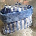 Ensemble Lingettes et Pochette rayée bleu et blanc