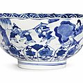 A blue and white lobed bowl, Kangxi six-character mark in underglaze blue within a double circle and of the period (1662-1722)