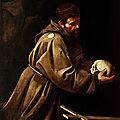 Les tableaux du Caravage à Rome (7/20). N°3 - <b>Eglise</b> Sainte-Marie des <b>Capucins</b> – Saint-François en méditation.