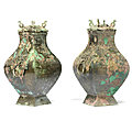 A pair of archaic bronze <b>square</b> <b>vases</b> and covers, fanghu, Han Dynasty