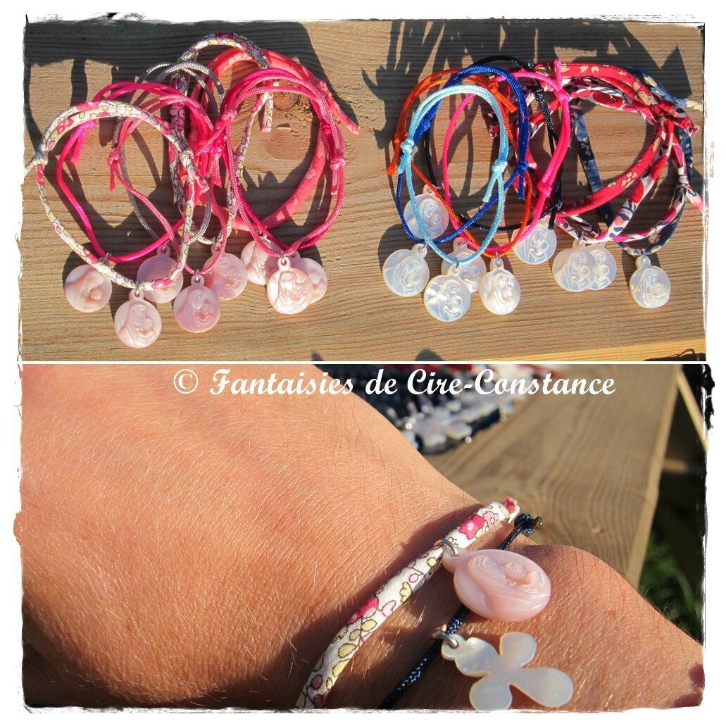 Bracelet Vierge enfant 15 mm blanc ou rose
