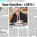 Nouveau scandale : le conseil général du val d'oise vient de voter une augmentation de 29 % de la taxe foncière