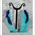 Boucles d'oreilles plumes bleues