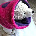 snood enfant réversible violet-fushia