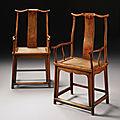 A pair of huanghuali <b>yokeback</b> <b>armchairs</b> (sichutou guanmaoyi), Qing Dynasty, 17th century