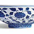A Fine and Rare blue and White <b>Fruit</b> bowl, Mark and Period of Xuande