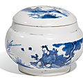 A blue and white jar and cover, Ming Dynasty, <b>Chongzheng</b> <b>period</b> (1628-1644)
