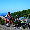 Joli parcours à vélo jusqu'au CRÊT de l'OEILLON,sur le <b>MASSIF</b> du <b>PILAT</b>,depuis Pélussin et St-Romain en Gal(LOIRE/<b>MASSIF</b>-CENTRAL)