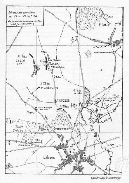 JMO 75e RI schéma opérations 24 au 28 sept 1914