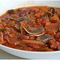 Ragoût de haricots rouges, champignons et riz : plat végé