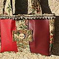 petit sac skai rouge -bordeaux et tissu