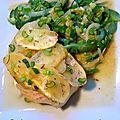 Cabillaud sauce citron-curcuma, écailles de pommes de terre et poivrons au micro-ondes