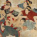 Grand album accordéon comprenant 12 planches d'estampes shunga. <b>Début</b> du <b>XXe</b> <b>siècle</b>