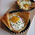 Pizzettes oeuf-bacon-cheddar, rapides et super bonnes !!