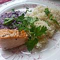 Saumon rôti sauce pourpre