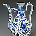Wine ewer decorated with flowers and fruits, Ming dynasty, <b>Yongle</b> period, 1403 - 1425