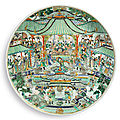 A massive, rare and impressive famille-verte '<b>banquet</b>' dish, Qing Dynasty, Kangxi Period (1662-1722)