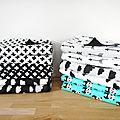 Couvertures pour bébés 60 x 90 cm - tissu imprimé graphique et fantaisie - noir et blanc - nuage croix chevrons flèches pandas