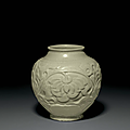 A very rare yaozhou celadon carved jar, china, northern song dynasty (ad 960-1127)