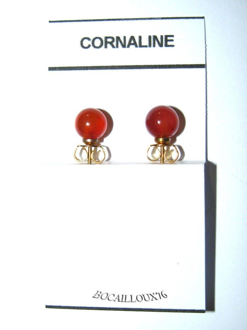 BOUCLE OREILLE PUCE CORNALINE 5 D.6mm
