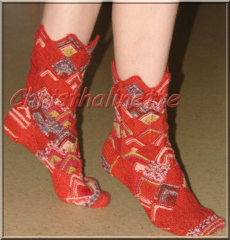 2008, chaussettes Drops en tricot modulaire