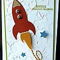 <b>Carte</b> d'anniversaire garçon avec fusée et étoiles