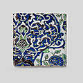 A Damascus underglaze-painted pottery tile, <b>Syria</b>, late 16th Century