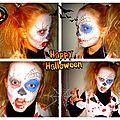 Maquillage pour nous deux et résultat final pour halloween sur mini moi